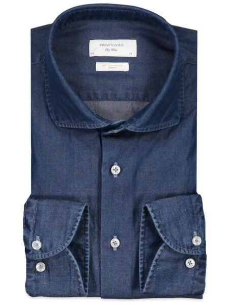 Profuomo   Overhemden KM Dress Profuomo   PP1H0C002 Denim Blue